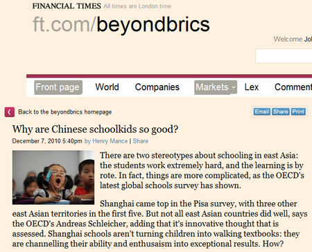 10 12 09 FT Why are China's schoolkids so good