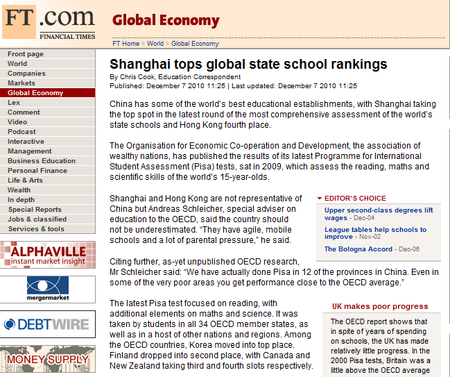 10 12 09 Shanghai tops global school rankings