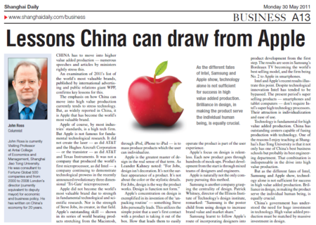 11 05 30 Lessons China can draw from Apple